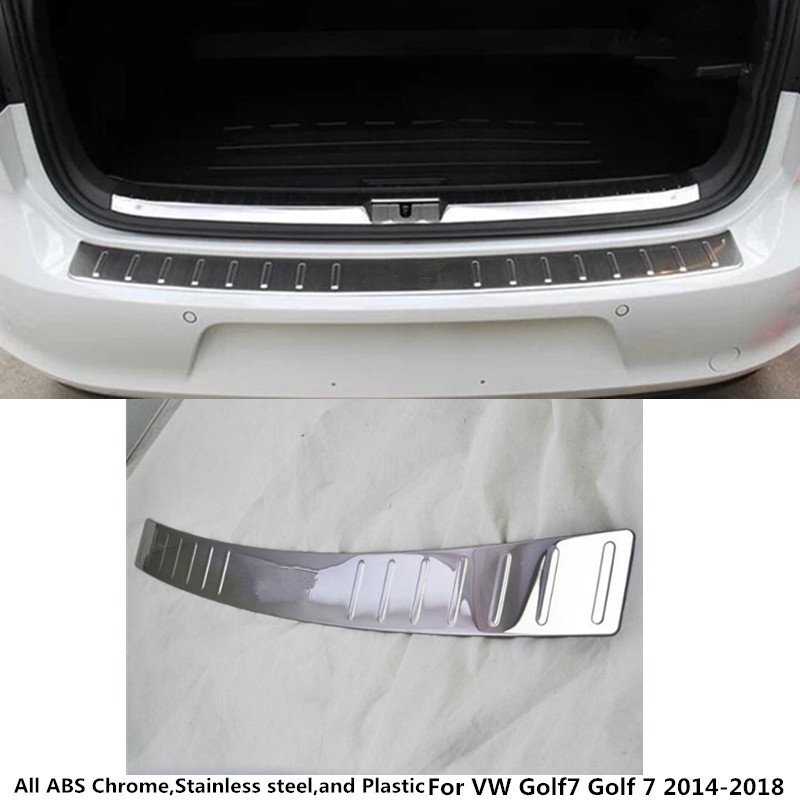 Car external rear bumper trunk trim cover Stainless Steel plate pedal For VW Volkswagen Golf7 Golf 7 2014 2015 2016 2017 2018 for nissan xterra paladin 2002 2017 rear trunk security shield cargo cover high quality car trunk shade security cover