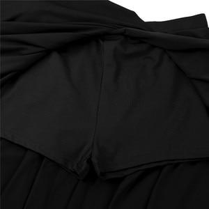 Image 4 - Top corto de baile lírico asimétrico para mujer, con pantalones cortos incorporados, trajes de falda con cuello Halter y espalda descubierta, conjunto de baile para baile de graduación