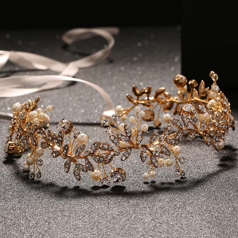 Delicate Gold Metal Headbands for women New Fashion Ladies Hair Jewelry Crystal Pearl Headdress Bride Wedding Hair Accessories