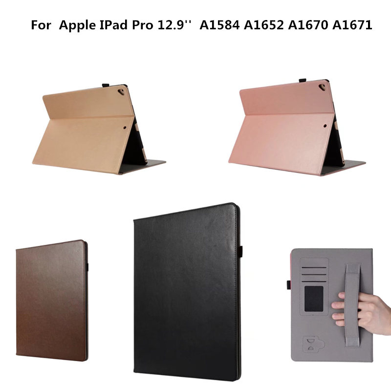 PU Leather Vintage Flip Stand Cover With Hand Strap Case for IPad Pro 12.9 Inch 2017 2015 Version A1584 A1652 A1670 A1671 Tablet