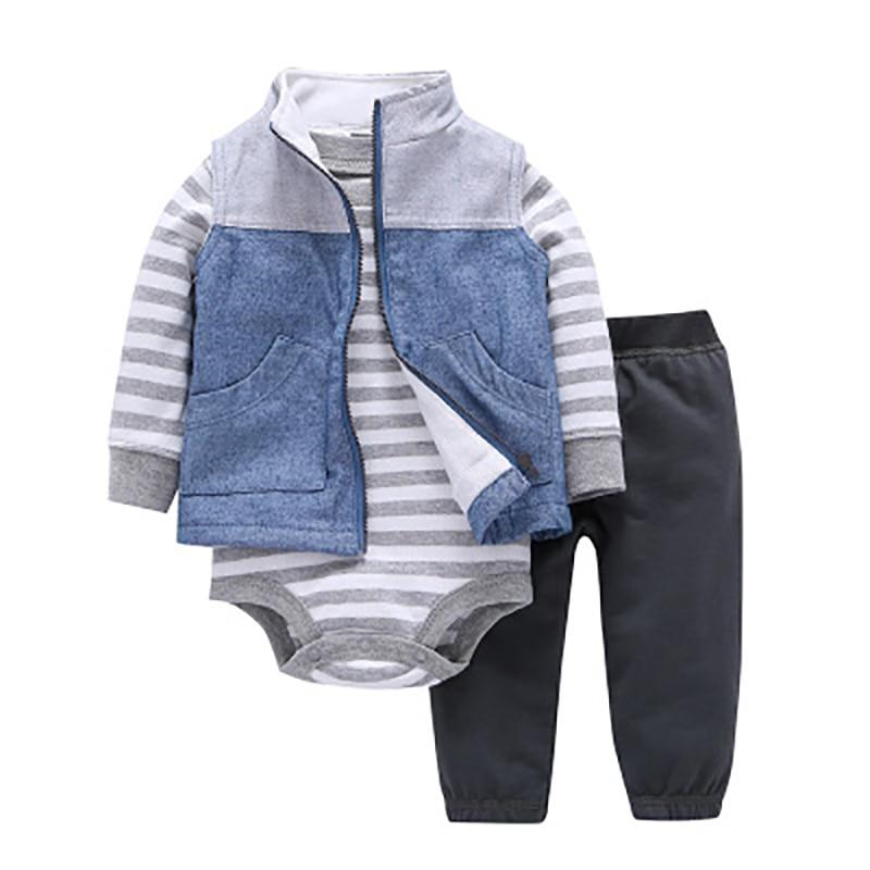 2018 Spring Autumn 3PCS Denim Pattern Little Cotton Jackets with Vest Baby Boy Clothes Bodysuit and Pants Kids Clothes