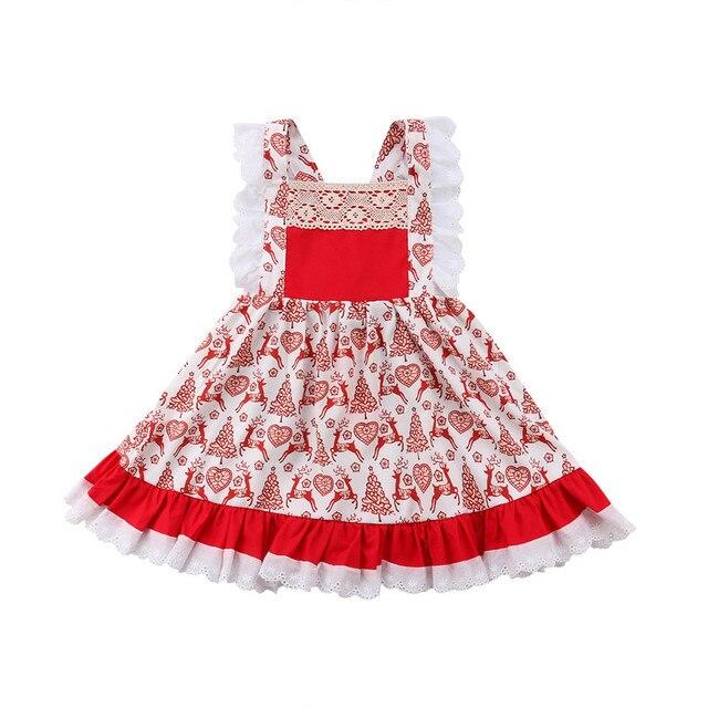 0aea513dc882 Christmas Deer Floral Newborn Kid Baby Girls Tutu Dress Party ...