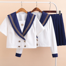 UPHYD School Uniform Cosplay Sets JK School Uniforms For Girls White Shirt And Dark Blue Skirt Sailor Suits Student Clothes