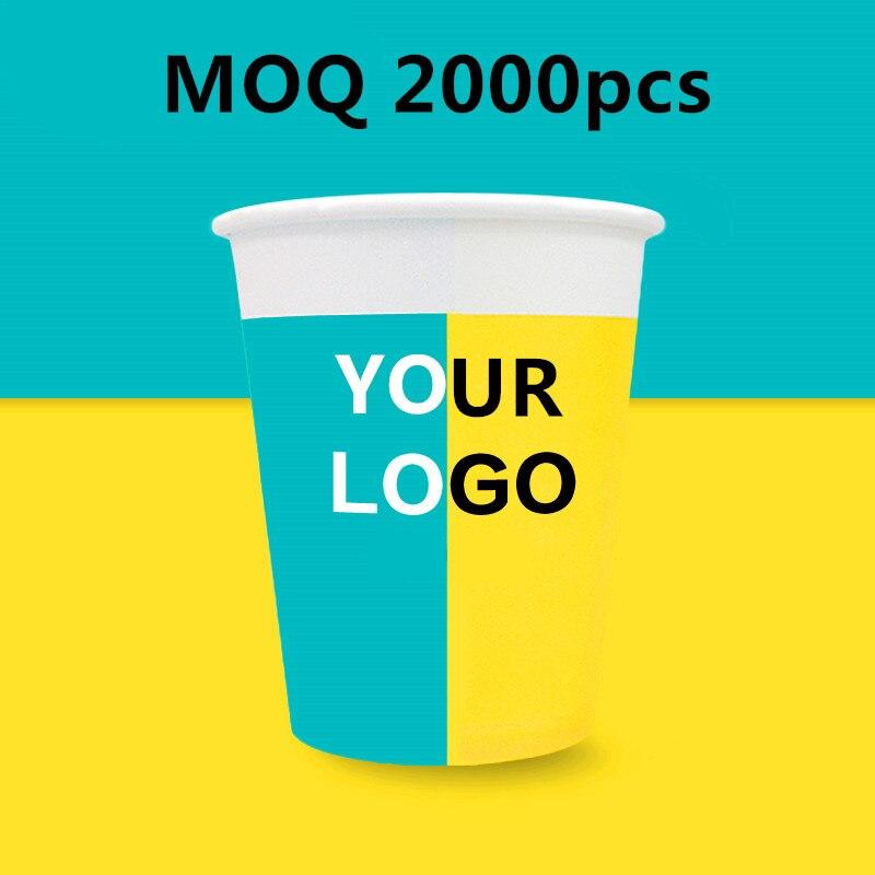 9oz custom disposable coffee tea paper cup logo design promotion