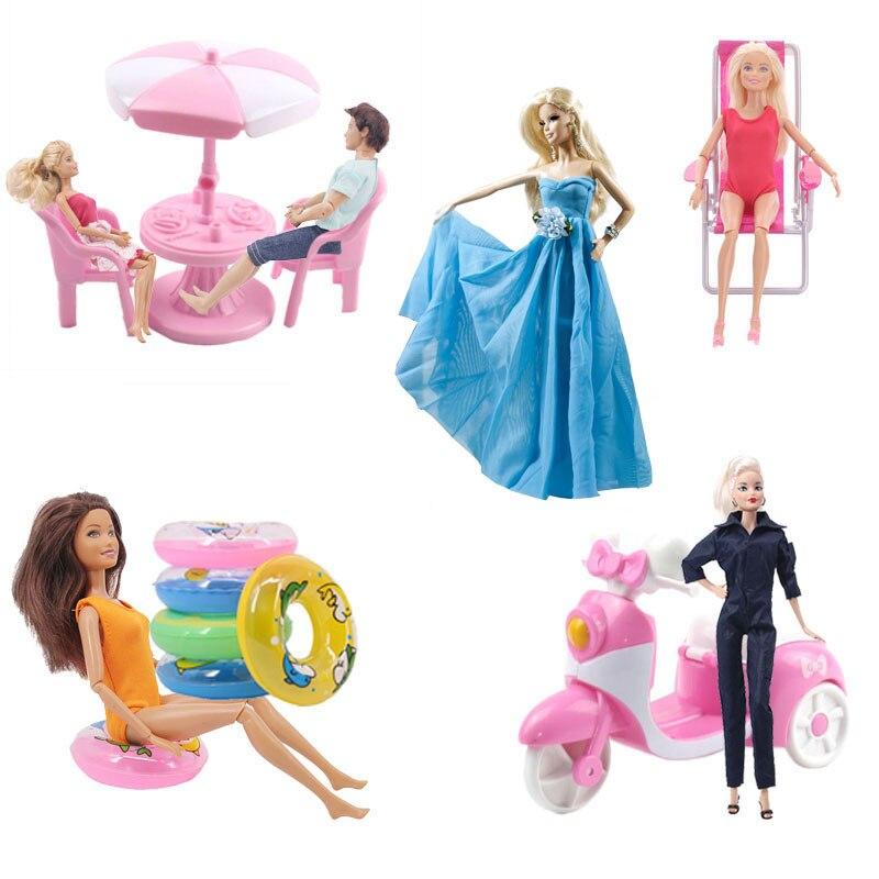 ZWSISU Doll MotorBike Car Chair Desk Beach Umbrella Luggage Closet Furniture Party Accessories For Barbie Generation Girl`s Toy