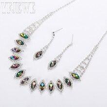 Новинки для женщин Модные украшения комплекты Nechlace и серьги с серебряным покрытием Стразы для вечерние N192