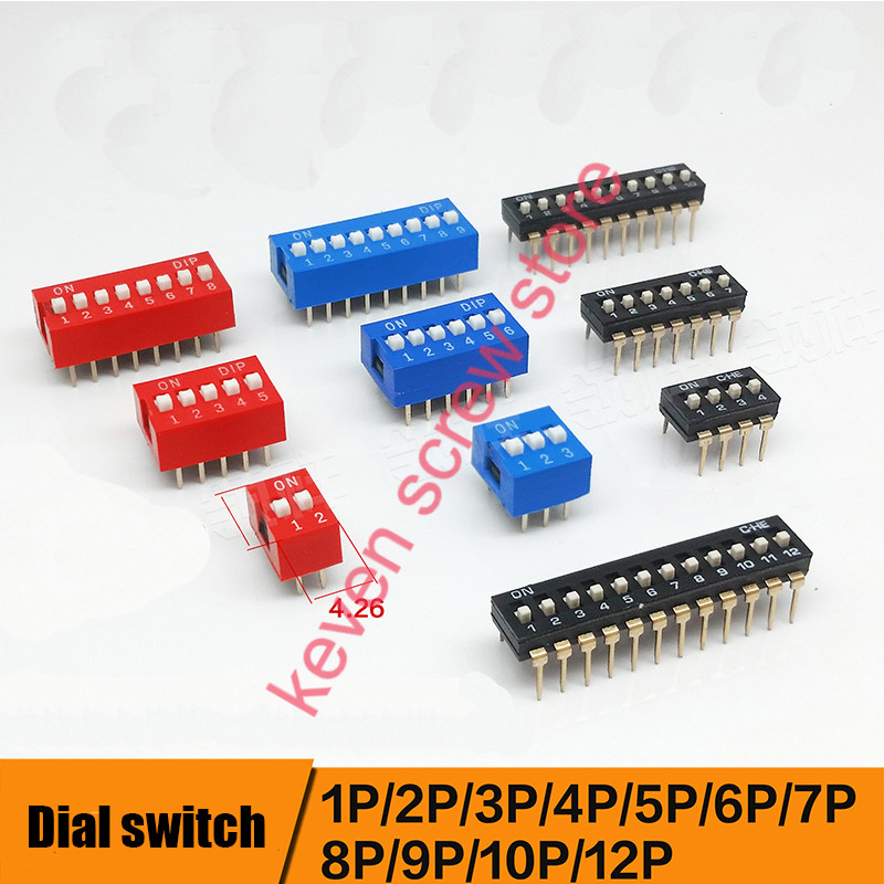 10pcs/lots Direct dial code switch DIP switch DP-1P/2P/3P/4P/5P/6P/7P/8P/9P/10P/12P 2.54MM DS pitch Side