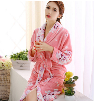 New Plush Robe Adult kawaii Pajamas Long Sleeve Lovely Flower ...