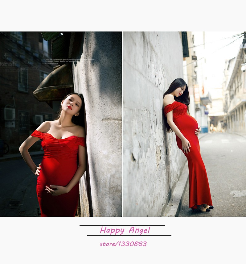 New-Maternity-pregnant-women-Photography-Props-Red-Sexy-Elegant-Romantic-Dress-Noble-Photo-Shoot-costume-personal (4)