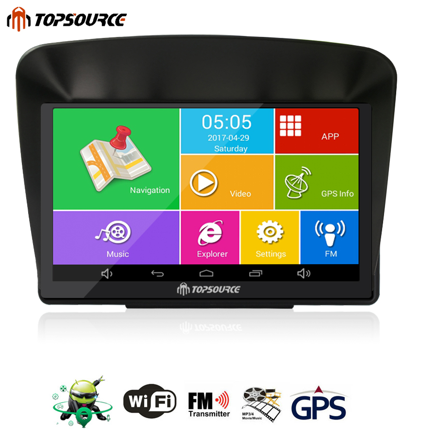 TOPSOURCE 7'' Car GPS Android Navigation Capacitive Screen 8GB 800MHZ Navitel/Europe/USA/Canade Map Truck GPS +GPS Sunshade st e181 7 0 capacitive screen android 4 1 1 hd dvr car gps navigator fm 8gb usa canada map black