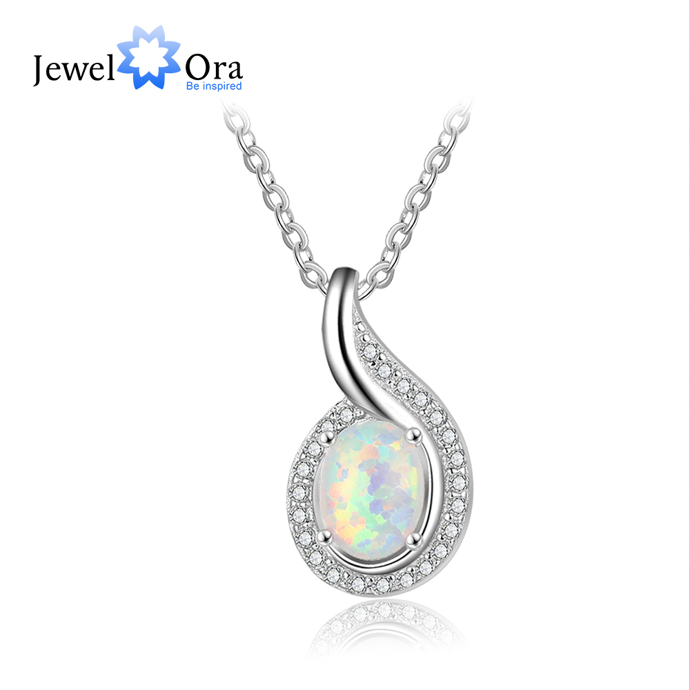Bean Shape Opal Stone Pendants Necklaces For Women 925 Sterling Silver Fashion Jewelry Party Gift For Her (JewelOra NE103147)