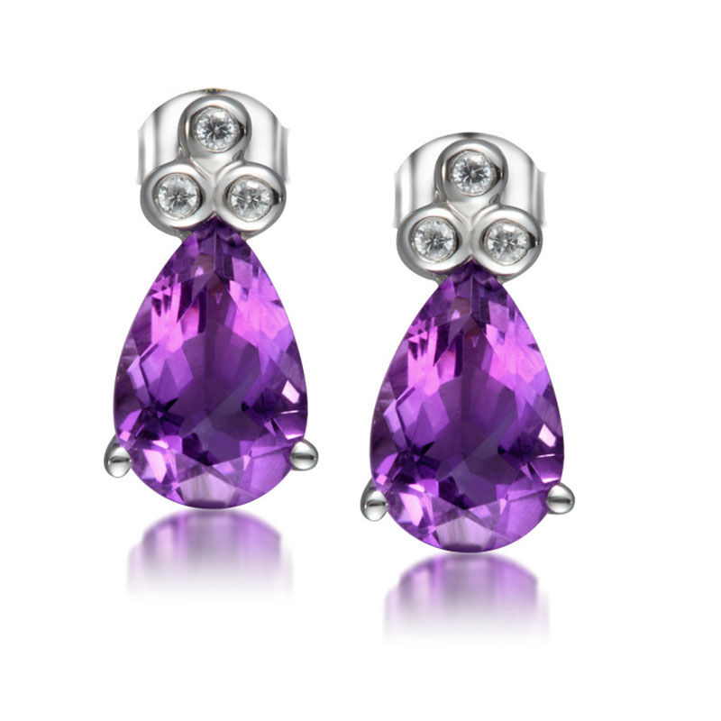 ANI 925 Sterling Silver Women Amethyst Engagement Earrings Round Natural Color Gemstone Elegant Lady Stud Earrings for Wedding pair of sweet candy color gemstone embellished earrings for women