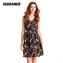 IUURANUS Summer Dress Women Sweet Print Floral Fashion Casual Style Vintage Female Elegant sleeveless party dress