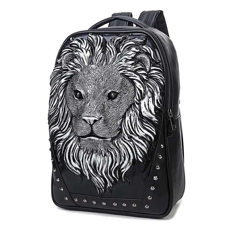 Cool Lion hommes sac à dos en cuir PU garçon résistant à l'eau collège école sac à dos 15 pouces sac à dos pour ordinateur portable sac de voyage pour les adolescents