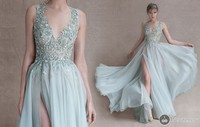 2018 A Line Floor Length prom Gown Sheer Crew Neck Appliques Beads Chiffon Side Slit 2018 Paolo Sebastian bridesmaid dresses