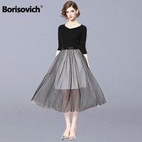 Borisovich Women Elegant Party Dress New 2019 Spring Fashion Mesh Patchwork Big Swing A line Female Casual Long Dresses N705