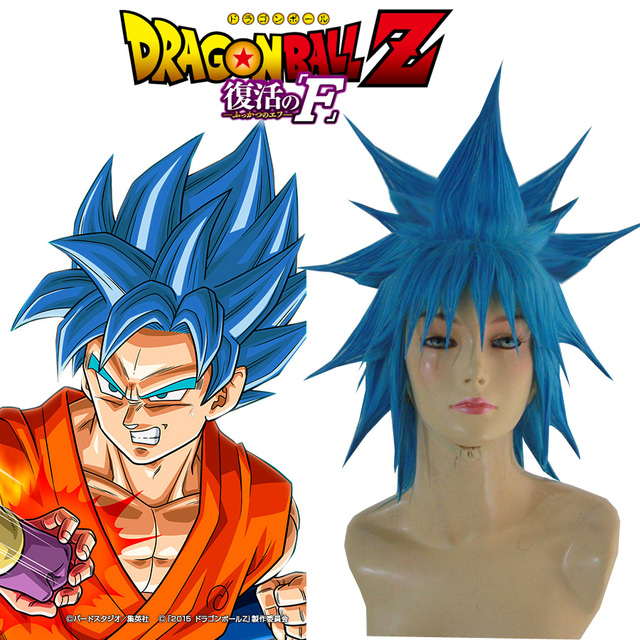 Free Shipping Dragon Ball Z  Resurrection  F  Son Goku Kakarotto Super  Saiyan God Blue 35cm Anime Cosplay Wig 79dc628dbbd6