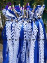 FREE SHIPPING-50pcs/lot Royal with white lace ribbon wands wedding