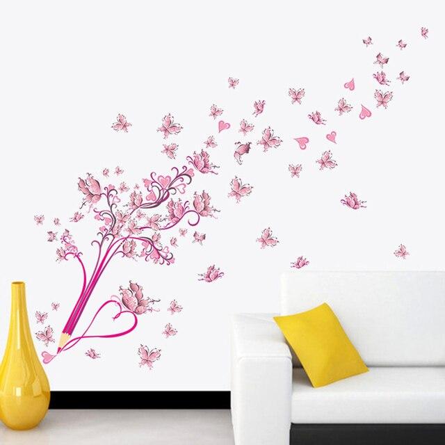 pvc wall sticker pink pensil kupu kupu bunga stiker dinding kamar
