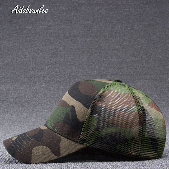 2017 New Arrival MEN'S HATS Men Camo Baseball Caps Mesh for Spring Summer Outdoor Camouflage Jungle Net Ball Base Army Cap Hot 1