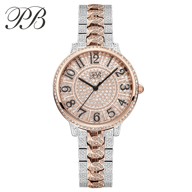 Newest Famous PB Brand Princess Butterfly All Diamond Luxury Women Austrian Crystal Watch Lady Sapphire Rhinestone Wrist Watch new arrival famous bs brand bling diamond bracelet silver watch women luxury austrian crystal big watch rhinestone charm bangle