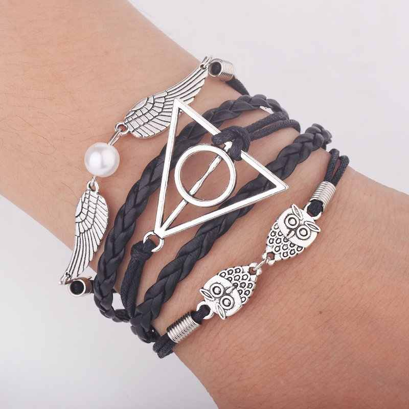 Vintage Leather Cord Infinity Bracelet Deathly Hallows with Owl Snitch Wings Imitation Pearl for Women or Men Gifts