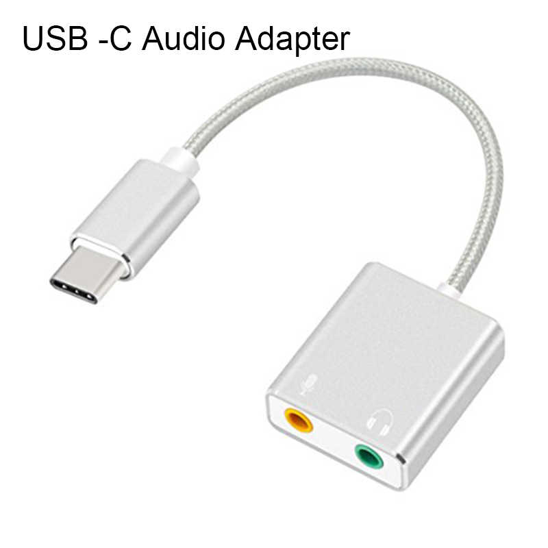 USB-C Type C 3D Stereo Sound Adapter Cable with 3.5mm Speaker Headphone Earphones and Microphone Jack Adapter Splitter