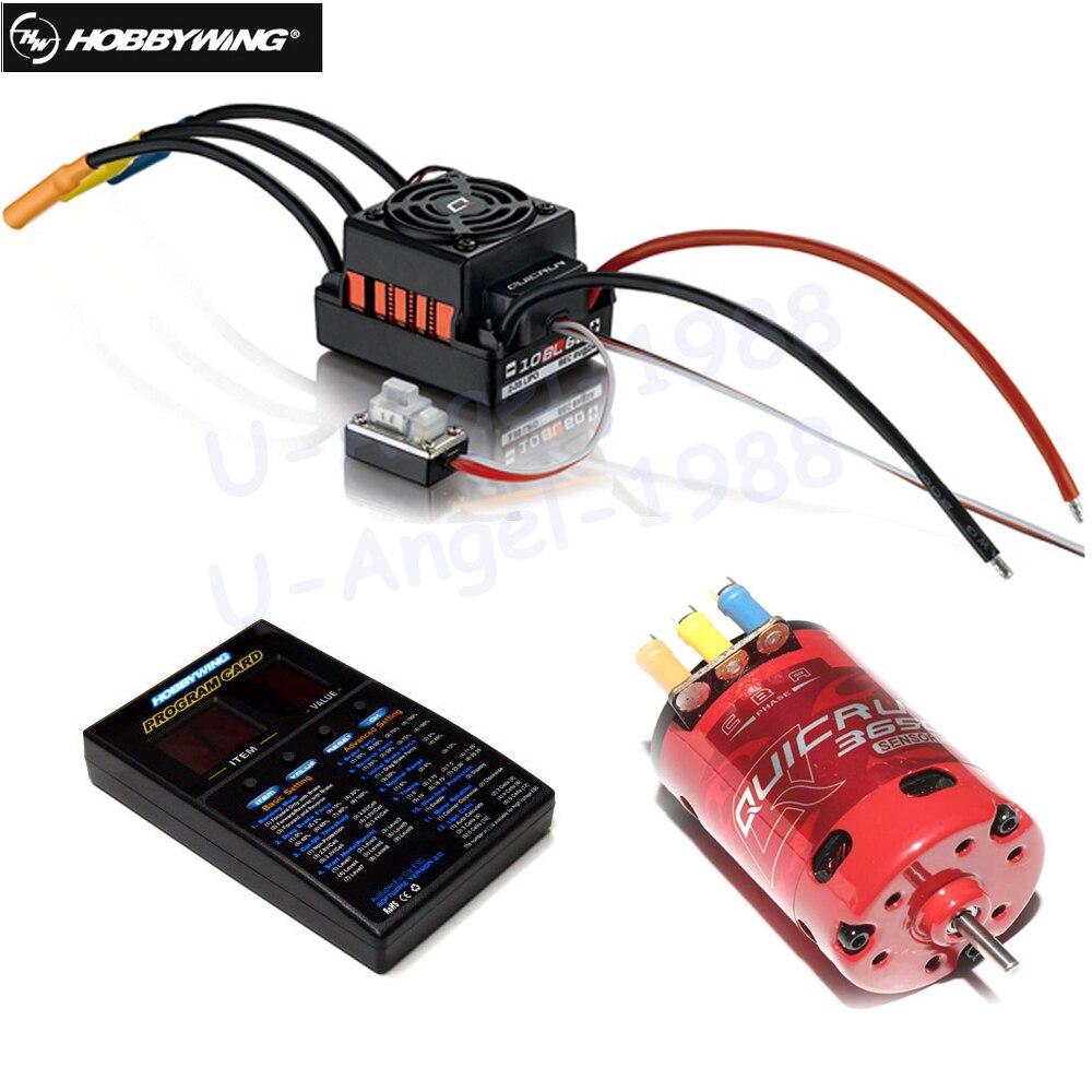 Hobbywing QUICRUN 3650 sen s 2-3 S Race бесщеточный двигатель + QUICRUN WP 10BL60 60A Сенсорный электронный регулятор хода светодио дный LED Программа карты для 1/10 Rc авт...