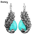 Vintage Look Antique Silver Plated Delicate Turquoise Malachite Peacock Clip On Drop Earrings TE64