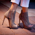 Made-to-order 2015 Nude Pump Women Shoes peep toe sandalias femininas high heel gladiator sandals plataforma Cover Heel Lace Up