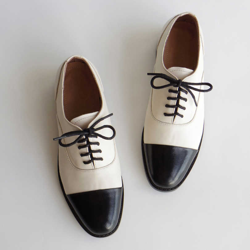 Women genuine leather oxford shoes round toe black white lady lace up brogues loafers casual shoes for women leather shoes