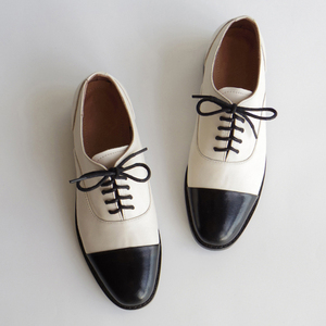 Image 2 - Women genuine leather oxford shoes round toe black white lady lace up brogues loafers casual shoes for women leather shoes 2020