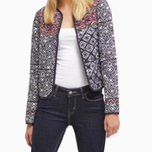 Women Ethnic Embroidery Beading Geometry Totem Pattern Quilted Jacket Vintage Long Sleeve Open Stitch Padded Outerwear Coat