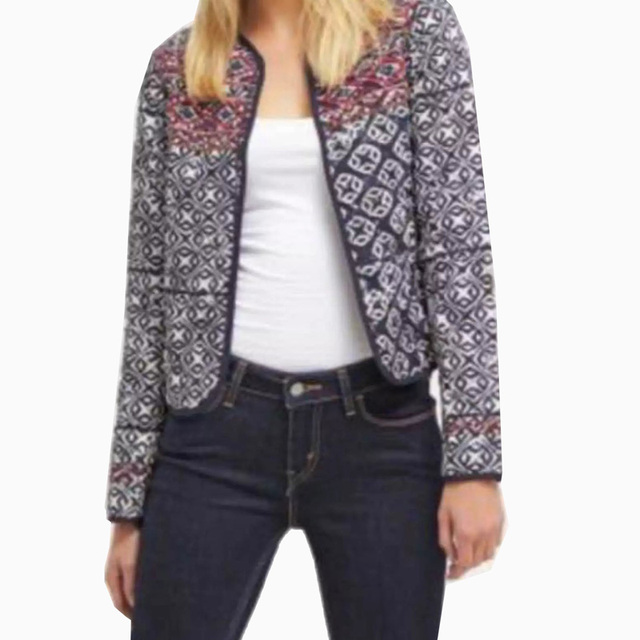 Women Ethnic Embroidery Beading Geometry Totem Pattern Quilted Jacket  Vintage Long Sleeve Open Stitch Padded Outerwear