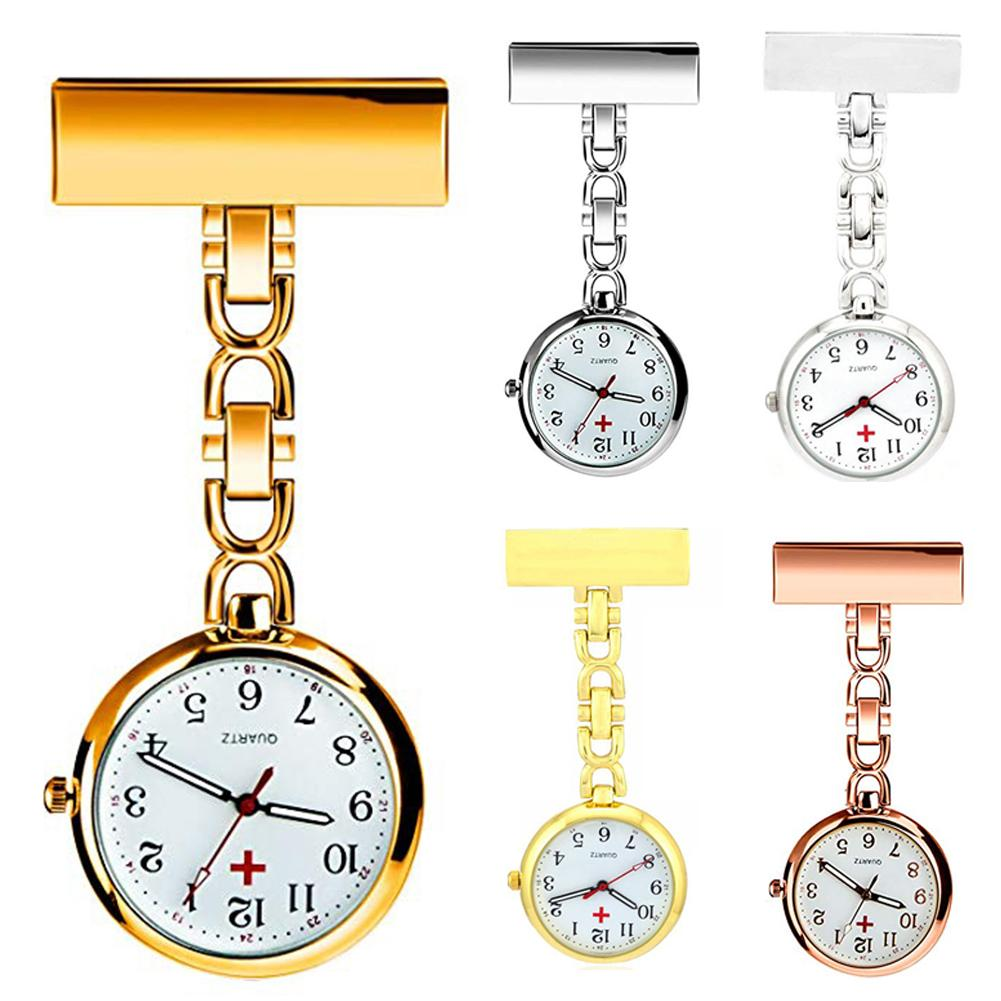 Classic Alloy Clip-on Quartz Analog Brooch Fob Medical Nurse Pocket Watch Gift