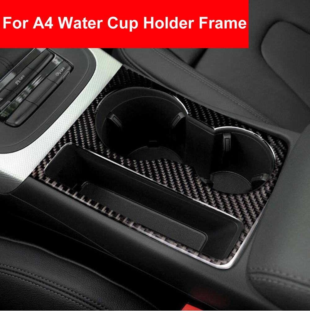 Car Styling Interior Water Cup Holder Panel Carbon Fiber Trim Sticker Decoration For Audi A4 B8 A5 2009 2010 2011 2012 2014-2016 image
