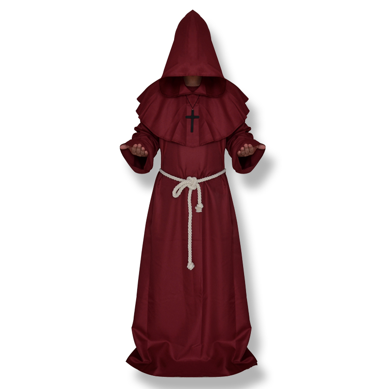 CT016FY036 костюм для косплея на Хэллоуин, средневековый фрир, монах, который носит костюм попа - Цвет: red
