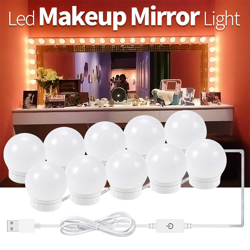 Cosmetic Table Mirror Led Bulbs Light Dressing Table Lampada 2 6 10 14pcs 12v Usb Beauty Hollyhood Lamp Touch Dimmer Makeup Cosmetic Tool Light