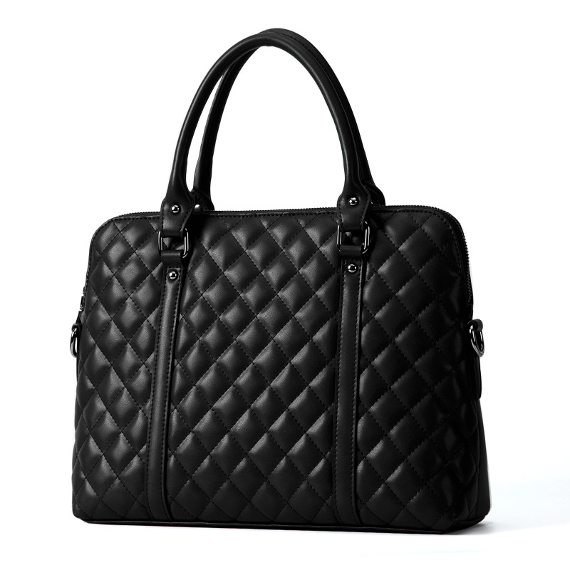 Caker Genuine Leather Handbag Business Case Leather Briefcase Bag Laptop Bag Diamond Lattice 14 Inch Computer Ipad Work Package