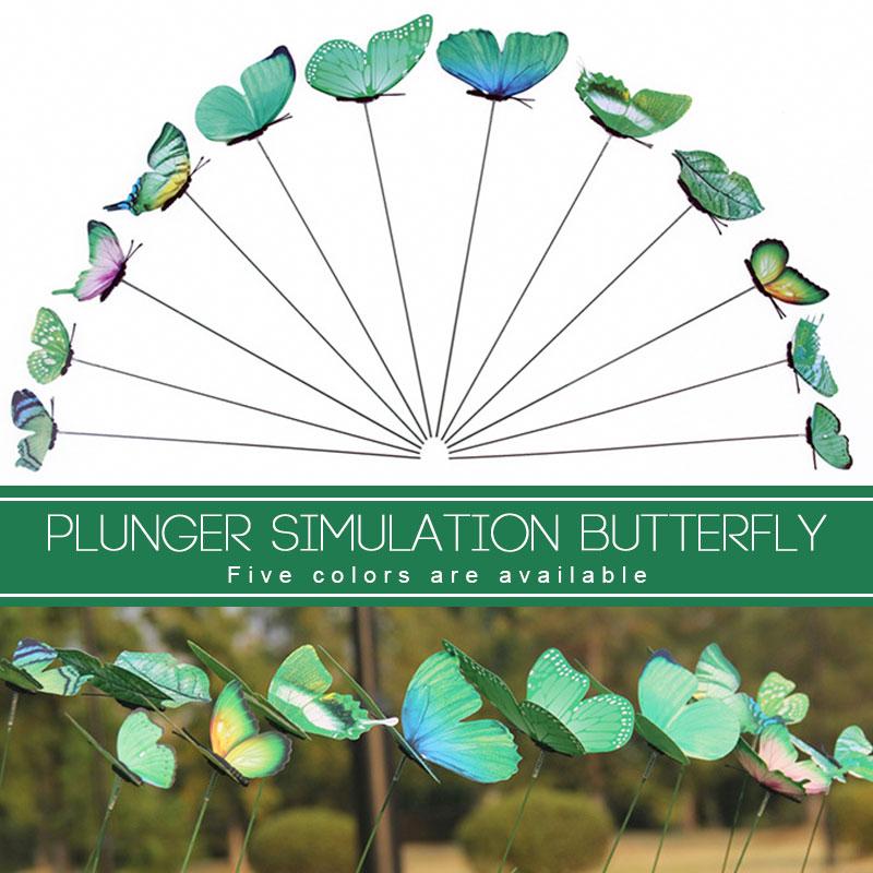 On Sticks 12pcs/Pack 3D Butterfly Garden Decor Lifelike Lawn Craft Garden Ornament Creative Gardening Lawn Decoration Insect