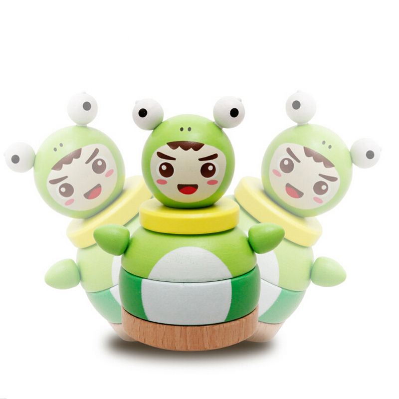 Cartoon Wooden Educational Block Toys Tumbler Doll Roly ...