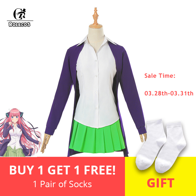 ROLECOS Anime Gotoubun no Hanayome Cosplay Costume Ichika Nino Miku Nakano The Quintessential Quintuplets Girl School Uniform