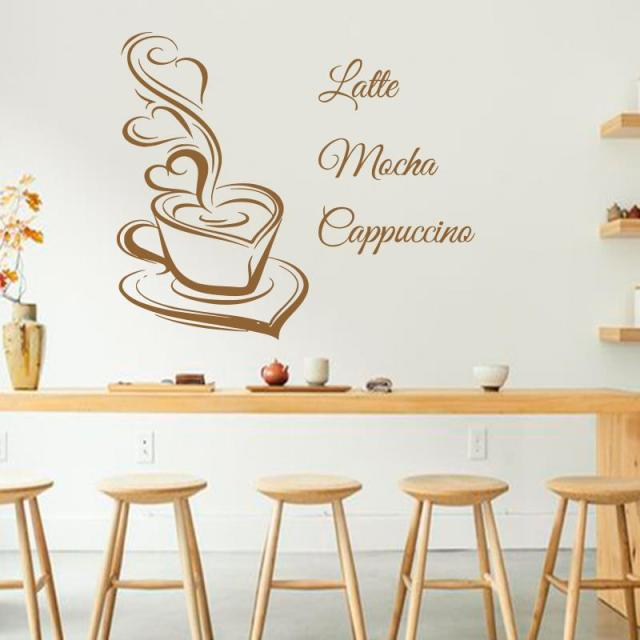 Art Design Coffee Wall Decals Latte Mocha Cappuccino Coffee Cup With Love  Kitchen Interior Mural Vinyl