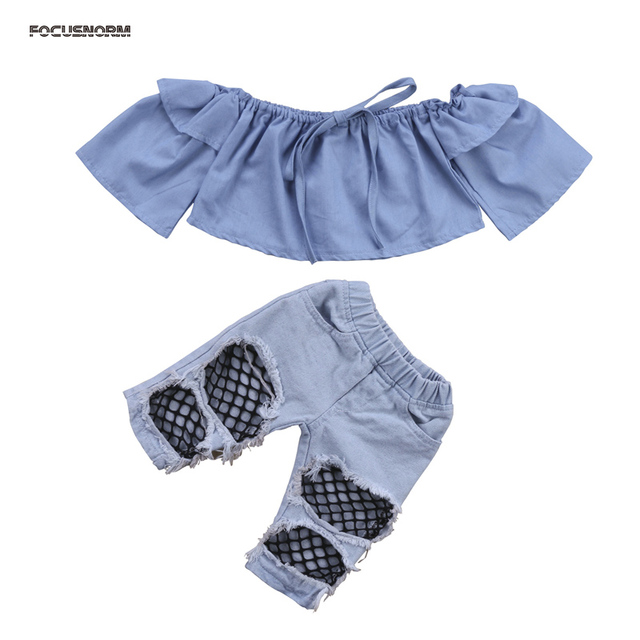8def0fede 2018 Fashion Newborn Kids Baby Girls Off Shoulder Long Sleeve Tops Denim  Pants Hole Jeans Outfits Clothes