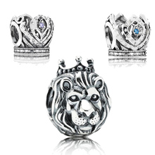 Mighty Lion King Crown Charm Authentic 925 Sterling Silver Bead Fit Original Pandora Bracelet Bangle for Women DIY Jewelry Gift