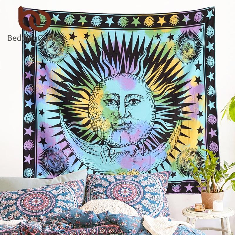 BeddingOutlet Colorato Arazzo Psichedelico Celeste Sole Indiano Arazzo Appeso A Parete di Tiro Della Boemia Porta Tenda 145 cm x 165 cm
