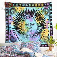 BeddingOutlet Colorful Tapestry Psychedelic Celestial Indian Sun Tapestry Wall Hanging Throw Bohemian Door Curtain 165x145cm