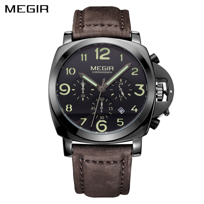 MEGIR Leather Quartz Men Watch Top Brand Luxury Chronograph Army Military Watches Clock Men Relogio Masculino Saat Erkekle megir sport mens watches top brand luxury male leather waterproof chronograph quartz military wrist watch men clock saat 2017