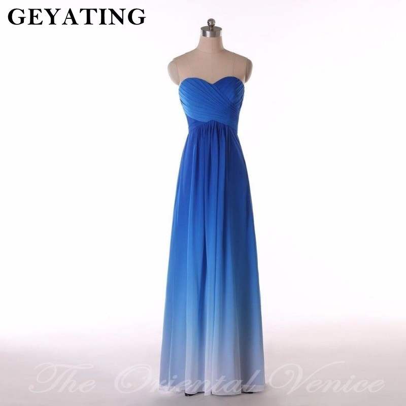 Ombre Blue   Bridesmaid     Dresses   Long Sweetheart Pleat Chiffon   Dress   For Wedding Party 2019 Summer Beach Boho wedding guest   dress