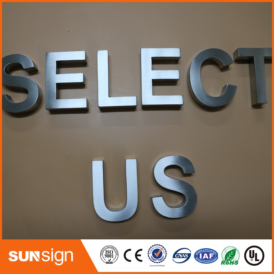 Cheap Metal Letters For Wall Inspiration Custom 3D Stainless Steel Sign Letter Brushed Metal Letters Shop Decorating Inspiration
